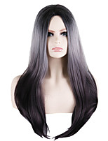 cheap -Synthetic Wig Straight Natural Straight Middle Part Wig Long Natural Black Synthetic Hair 26 inch Women's Fashionable Design Exquisite Romantic Burgundy