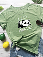 cheap -Women's T-shirt Graphic Prints Letter Panda Print Round Neck Tops 100% Cotton Basic Basic Top White Yellow Wine