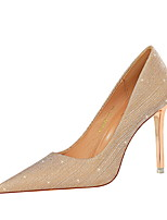 cheap -Women's Heels Stiletto Heel Pointed Toe Sexy Party & Evening Sequin Solid Colored PU Champagne / Silver