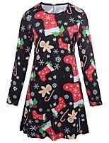 cheap -Women's Sheath Dress Knee Length Dress - Long Sleeve Print Print Summer Casual Elegant Going out Loose 2020 Black Red S M L XL XXL