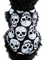 cheap -puppy clothes, small dog cat pet black skull vest t-shirt puppy apparel
