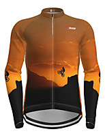 cheap -21Grams Men's Long Sleeve Cycling Jersey Orange Novelty Bike Jersey Top Mountain Bike MTB Road Bike Cycling Quick Dry Sports Clothing Apparel / Micro-elastic
