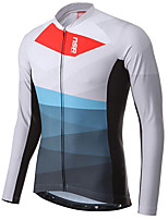 cheap -21Grams Men's Long Sleeve Cycling Jacket White Black Novelty Bike Jersey Top Mountain Bike MTB Road Bike Cycling UV Resistant Breathable Quick Dry Sports Clothing Apparel / Stretchy