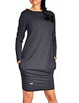 cheap -Women's Shift Dress Short Mini Dress - Long Sleeve Solid Color Patchwork Fall Casual Going out Slim 2020 Light gray Dark Gray Gray S M L XL XXL 3XL 4XL 5XL