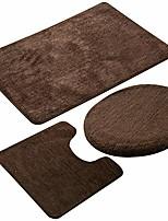 cheap -bathroom rug set 3 pieces non-slip soft bathroom rug rectangular floor mat, u-shaped toilet mat, elongated toilet lid cover (coffee)
