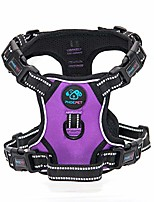 cheap -updated no pull dog harness medium reflective vest with handle,adjustable 2 metal hooks 4 snap buckles [easy to put on & take off](purple)