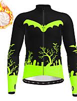 cheap -21Grams Men's Long Sleeve Cycling Jacket Winter Fleece Polyester Orange Green Black / White Novelty Funny Bike Jacket Top Mountain Bike MTB Road Bike Cycling Thermal Warm Fleece Lining Breathable