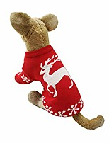 cheap -dog christmas sweater pet reinedeer holiday clothes with snowflake red classic winter costume for dogs cats (2xl)