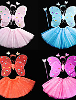 cheap -Princess Wings Costume Girls' Movie Cosplay Tutus Cute Purple / Red / Blue Skirts Wings Headwear Christmas Halloween Carnival Plastics / Wand