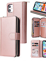 cheap -Case For Apple iPhone 12 / iPhone 12 Mini / iPhone 12 Pro Max Card Holder / Flip / Magnetic Full Body Cases Solid Colored PU Leather