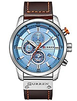 cheap -mens water resistant sport chronograph watches military multifunction leather quartz wrist watches (silver blue)