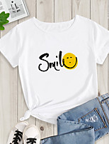 cheap -Women's Going out T-shirt Letter Print Round Neck Tops Basic Basic Top White