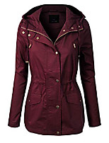 cheap -women's lightweight front zipper solid utility anorak hoodie vest/jacket burgundy xl