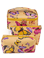 cheap -3 Pieces Cosmetic Bag Travel Toiletry Bag Large Capacity Waterproof Travel Storage Durable Butterfly PU Leather For Camping / Hiking / Caving Everyday Use Portable