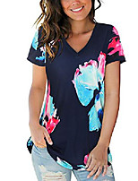 cheap -women& #39;s basic v neck short sleeve print t shirts summer casual tops blouse& #40;floral 1,l& #41;