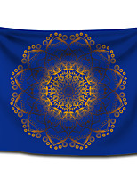 cheap -Wall Tapestry Art Decor Blanket Curtain Picnic Tablecloth Hanging Home Bedroom Living Room Dorm Decoration Polyester Bohemia Solid Dark Blue Background Gold Mandala View