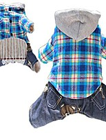cheap -pet dogs cartoon casual plaid hoodie four-legged jumpsuit overalls (l, blue)