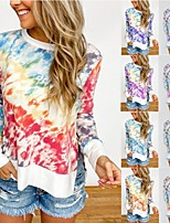 cheap -Women's T-shirt Tie Dye Long Sleeve Print Round Neck Tops Basic Basic Top Purple Red Orange