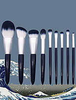 cheap -10 Pcs makeup brushes set super soft tapered blue handle beauty tool