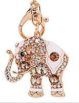 cheap -lucky elephant colorful opal rhinestone plating women car/bag keychain purse charm - gold