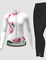 cheap -21Grams Women's Long Sleeve Cycling Jersey with Tights Winter Polyester White Flamingo Floral Botanical Bike Jersey Tights Clothing Suit Breathable Quick Dry Moisture Wicking Back Pocket Sports