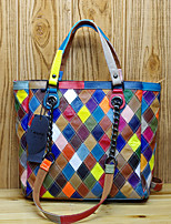 cheap -Women's Bags PU Leather Top Handle Bag Pattern / Print Zipper for Daily / Date Blue / Rainbow