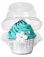 cheap -[50pcs]single clear individual cupcake box,small stackable take out container 1 compartment with lid disposable plastic packaging,bpa-free dome carrier holder for wedding favor (pack of 50)