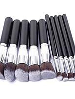 cheap -professional 10 piece makeup brush set (silver black)
