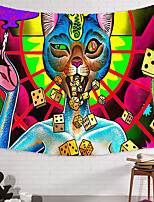 cheap -Wall Tapestry Art Decor Blanket Curtain Picnic Tablecloth Hanging Home Bedroom Living Room Dorm Decoration Polyester Novelty Cat Throwing Dice Psychedelic
