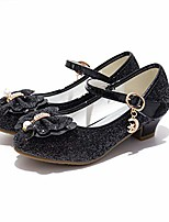 cheap -girls glitter mary jane low heel wedding party princess dress pump shoes shoes for toddler kids,black 10.5 little kid
