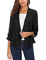 cheap -women's folding sleeve lightweight chiffon open blazer jacket (s, black)