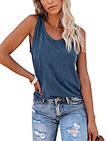 cheap -women& #39;s round neck tank top casual sleeveless summer shirts & #40;blue,medium& #41;