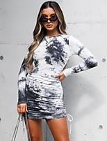 cheap -Women's Sheath Dress Short Mini Dress - Long Sleeve Tie Dye Print Fall Elegant Slim 2020 Black Khaki S M L