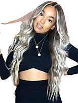 cheap -Synthetic Wig Body Wave Middle Part Wig Long Very Long Silver grey Synthetic Hair 65 inch Women's Party Middle Part Fluffy Dark Gray