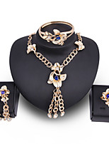 cheap -Women's Clear Blue Synthetic Diamond Bridal Jewelry Sets Simple Basic Elegant Earrings Jewelry Gold For Wedding Engagement 1 set