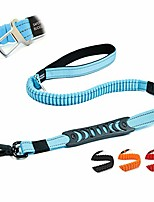 cheap -heavy duty bungee dog leash for large medium dogs - 5 ft reflective dog shock absorbing training leash with double traffic handles - dog car seat belt - strong climbing rope, blue
