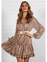 cheap -Women's A-Line Dress Short Mini Dress - Long Sleeve Print Print Fall V Neck Sexy Holiday Slim 2020 Black Khaki S M L XL