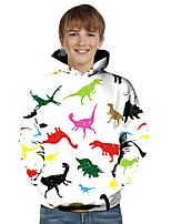 cheap -Kids Toddler Boys' Active Basic Dinosaur Geometric 3D Animal Print Long Sleeve Hoodie & Sweatshirt White