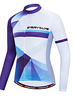 cheap -Men's Long Sleeve Cycling Jersey White Bike Quick Dry Sports Geometic Clothing Apparel / Micro-elastic