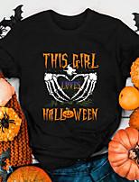 cheap -Women's Halloween T-shirt Heart Graphic Prints Skull Print Round Neck Tops 100% Cotton Basic Halloween Basic Top White Black Purple