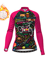 cheap -21Grams Women's Long Sleeve Cycling Jacket Winter Fleece Black / Yellow Black Fuchsia Bike Jacket Top Mountain Bike MTB Road Bike Cycling Fleece Lining Warm Sports Clothing Apparel / Micro-elastic