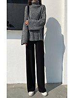 cheap -Women's Basic Daily Wide Leg Pants Solid Colored Sports Black Khaki Light gray S M L