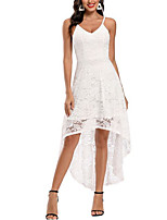 cheap -A-Line Elegant Minimalist Party Wear Cocktail Party Dress Spaghetti Strap Sleeveless Asymmetrical Lace with Lace Insert 2020