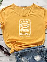 cheap -Women's T-shirt Letter Print Round Neck Tops 100% Cotton Basic Basic Top White Black Red