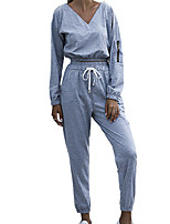 cheap -Women's Sweatpants Sweatshirt Set Pure Color V Neck Solid Color Sport Athleisure Sweatshirt and Pants Long Sleeve Breathable Soft Oversized Comfortable Exercise & Fitness Everyday Use Daily Outdoor