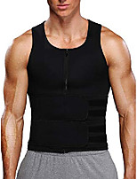 cheap -men waist trainer sweat vest with double belts workout compression waist trainer sauna suit neoprene tank top,black s