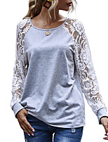 cheap -Women's Going out Blouse Shirt Color Block Long Sleeve Lace Cut Out Patchwork Round Neck Tops Elegant Sexy Basic Top Gray