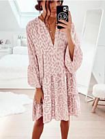 cheap -Women's Shift Dress Knee Length Dress - Long Sleeve Leopard Patchwork Summer Casual Flare Cuff Sleeve 2020 Blushing Pink S M L XL XXL