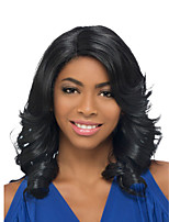 cheap -Synthetic Wig Loose Curl Asymmetrical Wig Medium Length Black Synthetic Hair Women's Fashionable Design Fluffy Waterfall Black