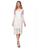 cheap -Sheath / Column Minimalist Boho Holiday Party Wear Dress Illusion Neck 3/4 Length Sleeve Tea Length Lace with Lace Insert 2020
